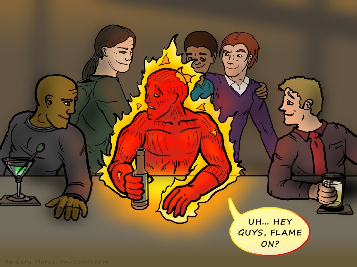 Remove R Comic (aka rm -r comic), by Gary Marks: Too hot to handle  Dialog:  Hot stuff coming through. 